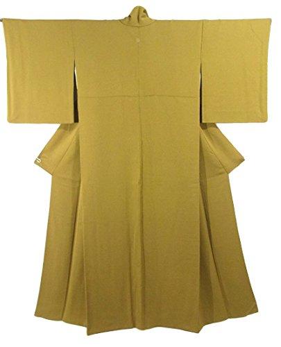 リサイクル 着物 色無地 横縞と流水文 正絹 袷 裄66cm 身丈160cm