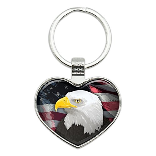 Eagle Keychain Bald (American Bald Eagle Flag USA Patriotic Heart Love Metal Keychain Key Chain Ring)