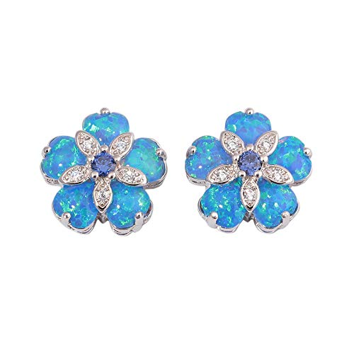 CiNily Blue Flower Opal Earrings Stud, Blue Topaz Zircon Rhodium Plated Women Hypoallergenic Jewelry Gemstone Stud Earrings 15mm