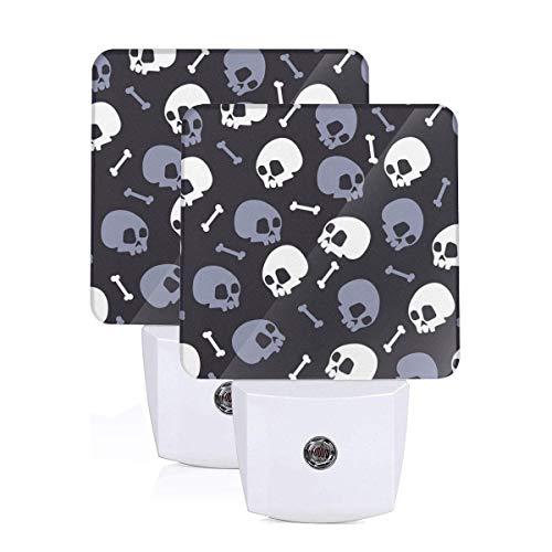 2 Set of Nightlight Skull Bones Halloween Plug-in Night Light Warm White LED Nightlight with Auto Dusk to Dawn Sensor, Perfect for Kids Room, Hallway, Bedroom, Kitchen, Bathroom -