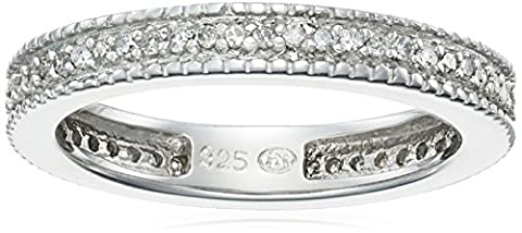 Sterling Silver Diamond Stackable Band Ring (1/4 Cttw, J Color, I3 Clarity), Size 6 - Sterling Silver Diamond Antique Ring