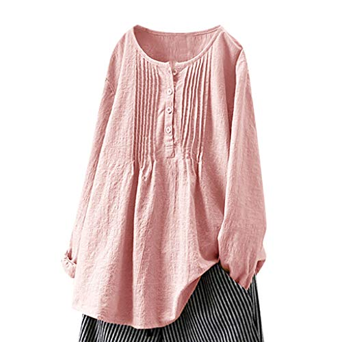 (Trule Women Casual Shirt Round Neck Blouse Button Blouse Long Sleeve Tops Solid Color Pleated Tops)