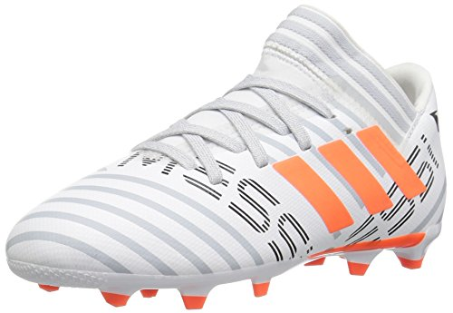 adidas Kids' Nemeziz Messi 17.3 FG J Soccer-Shoes, White/Solar Orange/Clear Grey, 4 Big Kid