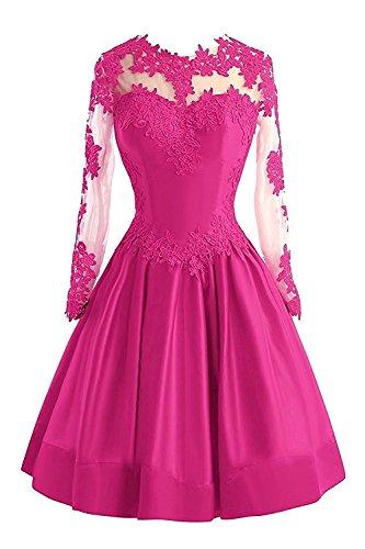 Cocktailkleider Spitze Abendkleider mia Festlichkleider Pink Knielang Langarm Beige Kurz Braut Rock Partykleider La Hell A Damen Linie WqnpRWx