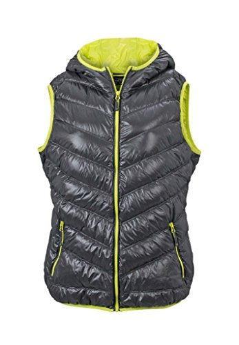 JAMES & NICHOLSON Ultra light down vest with hood in casual style Carbon/Acid-yellow