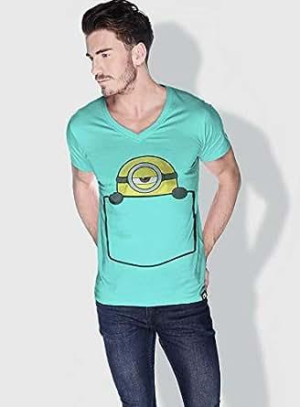 Creo Pocket Minions Vshape Neck T-Shirt For Men - Green, L