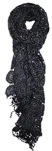 - Ted and Jack - Luxe Bedazzled Sequin and Sparkle Scarf in Black