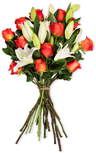Benchmark Bouquets Orange Roses and White Oriental Lilies, No Vase (Fresh Cut Flowers) -