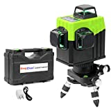 Dingchao Self-Leveling Three-Plane 3 x 360 Green Line Laser Level,with Micro-Adjust / 360 Degree Pivoting Base, Hard Carrying Case,Power Plug Adapter,Multi-functional Laser Leveler Layout Laser Tools