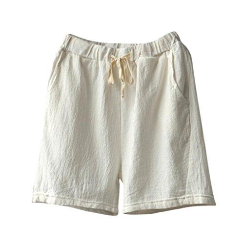 Summer Clearanc!Women Casual Cotton Linen Shorts Elastic Waist Summer Slim Lady Short Pants by-NEWONESUN