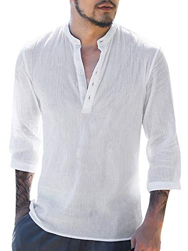 - PASLTER Mens V Neck Cotton Linen Hippie Shirts Long Sleeve Casual Henley T-Shirt Top A-white X-Large