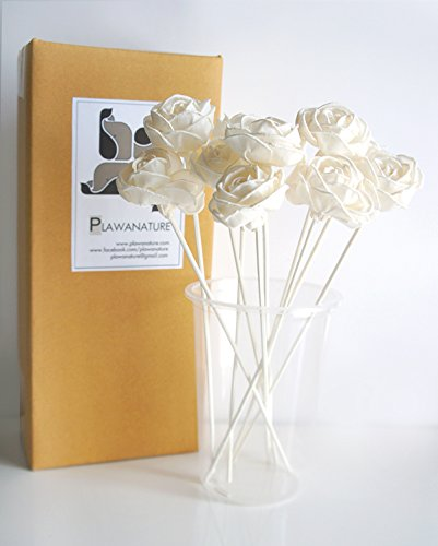 Exotic Plawanature Set of 10 Rose Curl Design 1.5 Inch Sola Wood Flower with Reed Diffuser for Home Fragrance Aroma Oil. by Exotic Aroma (Image #4)