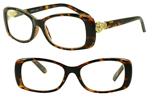 Round Oval Fashion Rx Optical Reading Eye Glasses w/ Metal Rhinestone Floral +1.00 +1.25 +1.50 +2.00 +3.00 Strength Readers (Crazy Tortoise, 1.75 (Fifties Cat Eye Rhinestone Glasses)