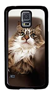 Diy Fashion Case for Samsung Galaxy S5,Black Plastic Case Shell for Samsung Galaxy S5 i9600 with Cute Cat Kimberly Kurzendoerfer