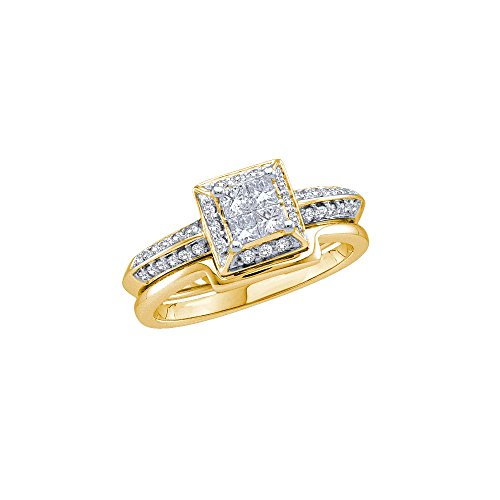 14kt Yellow Gold Womens Princess Diamond Bridal Wedding Engagement Ring Band Set 1/2 Cttw by JawaFashion