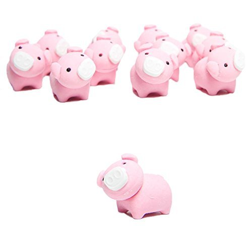 12 Adorable Deluxe Pink Pig Erasers - Perfect for Schools, Goody Bags & More! Adorable Pig