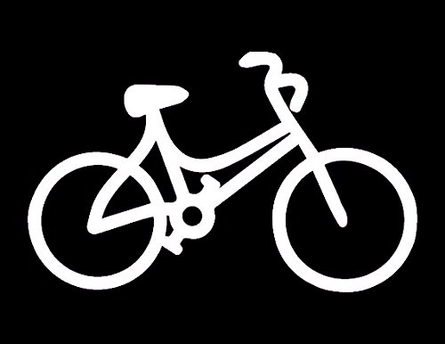 Bicycle Decal Vinyl Sticker|Cars Trucks Vans Walls Laptop| White |5.5 x 3.5 in|LLI064
