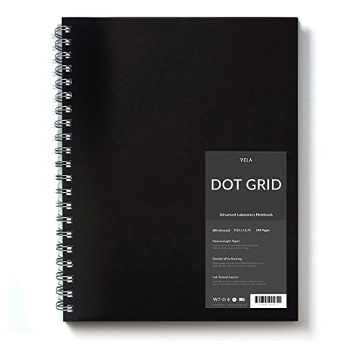 - Vela Sciences Advanced Wirebound Lab Notebook, 9.25 x 11.75 inches, 144 Pages (1-Pack, Dot Grid)