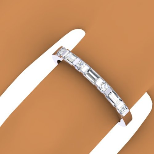 0.20 Carat (ctw) 14K Gold Round & Baguette Diamond Ladies Anniversary Wedding Stackable Ring 1/5 CT
