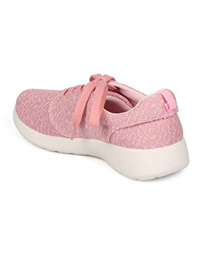 Alrisco Femmes Tricoté Lacets Sneaker - Texturé Jogger - Chaussures De Sport - Chaussures De Course Dexercice - Hc03 Par Nature Breeze Collection Rose