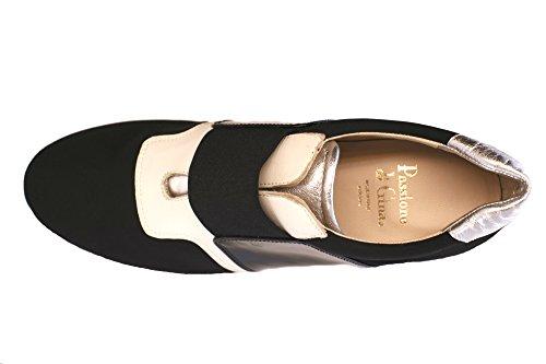 Passione di Gina LA-Chic Fashion Sneaker in Italian Leather and stretch microfiber, in Black & White. by Passione di Gina Made With Love In Italy (Image #3)