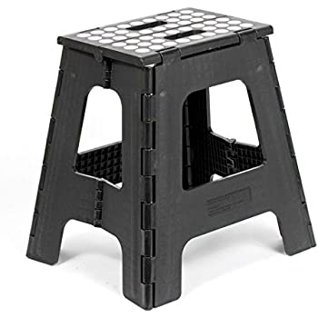 Kikkerland Rhino Tall Folding Step Stool, Black
