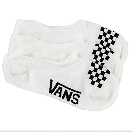 Vans Womens Girls Basic Canoodle No Show Socks (Girls Shoe Size 1-6, White/Black Check)