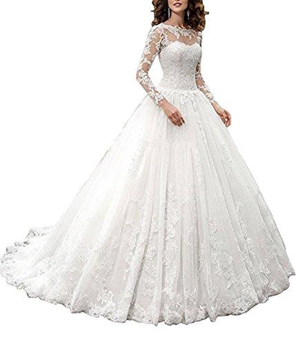 Ruiyuhong 2018 Lace Bodycon Wedding Dress Long Sleeve Lace Up Bride Dress HS38 White 6