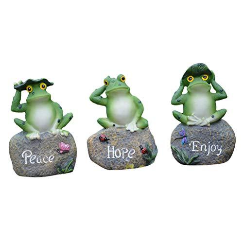 (Toyvian Little Frog Figurine Painted Decor Fairy Gardens Ornament Resin Decoration Gift 3Pcs)