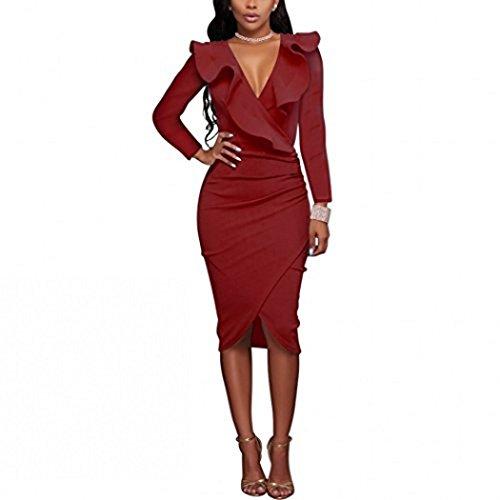 Bodycon Dress Long Sleeve Pencil Dress For Women Wear To Work Dresses Wine Red Size - Ruffle Knit Dress Detail