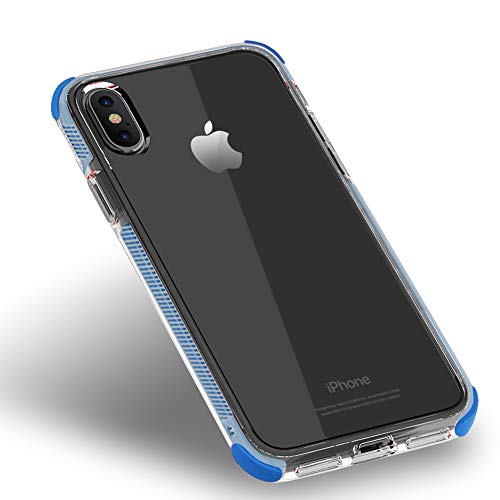 JINRU iPhone Xs Case Iphonexs/XR/XS,Ransparent TPU Soft Shell, Four-Corner Shatter-Resistant Shell,Blue,XSMAX (Blue Faceplates Transparent)