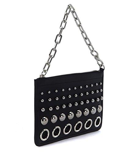 Pochette Alexander Wang Attica Chain in pelle nera con borchie e anelli - more-bags