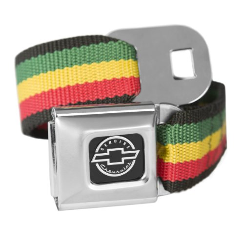 Belt Officially Licensed - Rasta Chevrolet Seatbelt Buckle Fashion Belt - Officially Licensed
