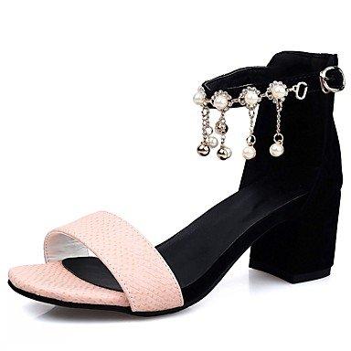LvYuan Otoño cms Imitación Semicuero Negro Robusto 5 Tacón Perla Rosa Paseo PU Black Sandalias 7 Blanco Mujer de Verano 4rXqrHR
