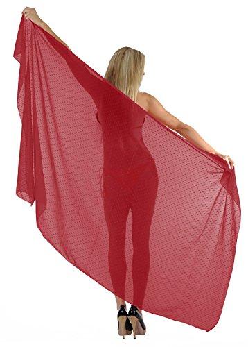 las mujeres bikini traje de baño de La Leela abrigo de la playa de peso ligero pareo de la gasa de 78x39 pulgadas Rojo Deslumbrante
