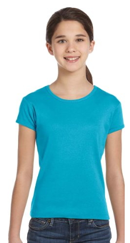 Bella Girls 1x1 Baby Rib ShortSleeve Crewneck T-Shirt - Turquoise - large