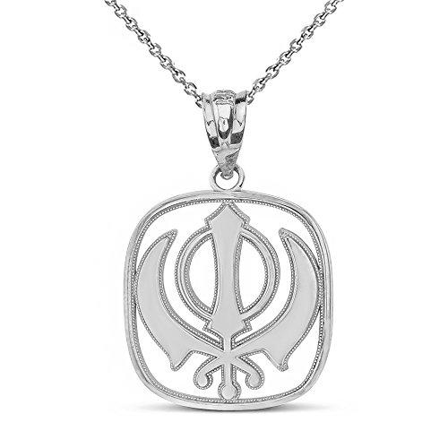 Sterling Silver Sikh Khanda Kirpan Sword Symbol Religious Pendant Necklace, 18