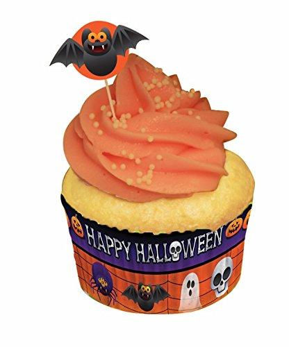 Forum Novelties 24 Count Happy Halloween Cupcake Wrappers and Picks, Orange ()
