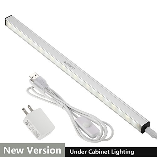 ASOKO Dimmable LED Under Cabinet Lighting, Memory Function, 12inch, Soft White, 5000K, 3M and Magnet Mounted, UL Listed Plug, USB Powered LED Closet Light Bar, Under Counter Lighting (With UL Plug)