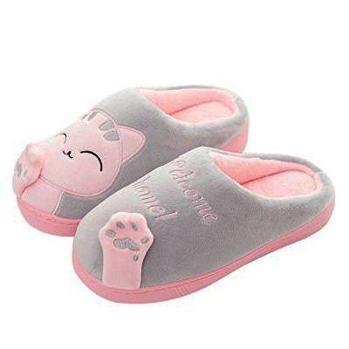 GESIMEI Ladies Mule Slippers Shoes Winter Warm Cute Cat Plush Slippers Indoor Non-Slip House Slippers Men Women Grey