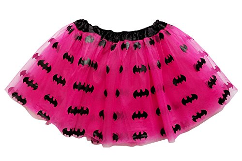 Batgirl Tutu Costume (So Sydney Adult, Plus, Kids Size SUPERHERO TUTU SKIRT Halloween Costume Dress Up (M (Kid Size), Hot Pink & Black (Batgirl)))