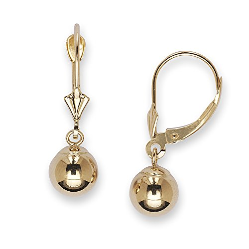 14k Yellow Gold Large Ball Drop Leverback Earrings - Measures 27x8mm