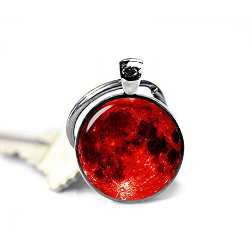 Vampire Fan Art - Blood Moon Keychain Red Moon Keyfob Red Moon Keyring Vampire Fans