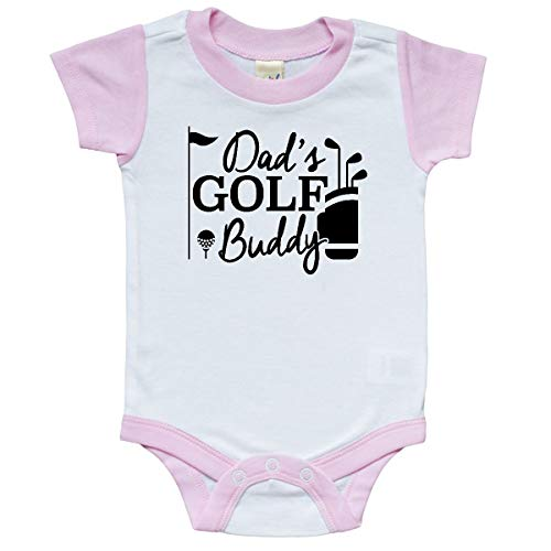 inktastic Dad's Golf Buddy Infant Creeper 6 Months White and Pink