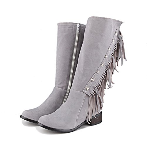 Suede Top Closed Solid Toe Heels Imitated Low Women's Round Mid Gray AgooLar Boots XfvwS6Zq