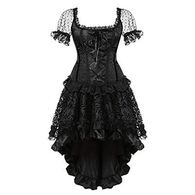 Famajia Women's Vintage Victorian Steampunk Corset Dress Showgirl Halloween Costume
