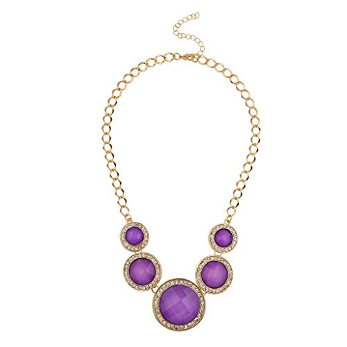 le Stone Pave Crystal Disc Statement Necklace (Pave And Crystal Necklace)
