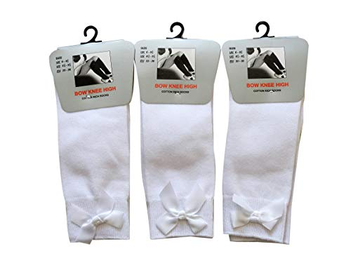 Bow Knee High 3 pairs School Girls & Kids Plain Long Length Cotton Stretch...