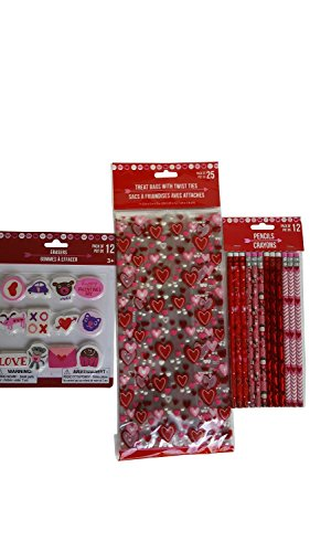 Valentine's Day Themed Holiday 3 Item Bundle Pack includes (12) Pencils (12) Erasers and (25) Treat Bags (Valentine Day Erasers)
