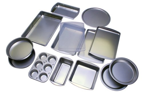 EZ Baker Uncoated, Tin Plated Steel 14-Piece Bakeware Set - Natural Baking Surface that Heats Evenly for Perfect Baking Results, Set Includes all Necessary Pans